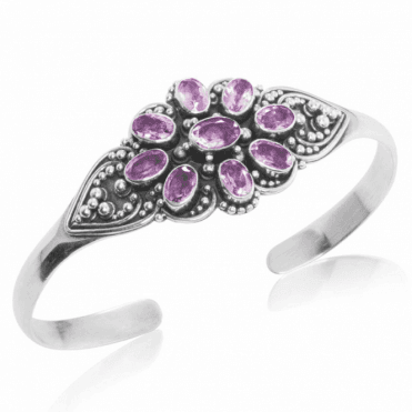 Ladies Shipton and Co  Silver and Nine Amethyst Torc Bangle TSS161AM