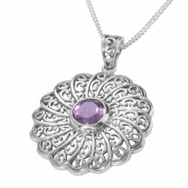"Ladies Shipton and Co  Silver and 10mm Round Amethyst in Filigree Circle Pendant including a 16"" Silver Chain  TFE038AM"