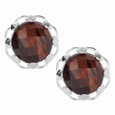 Ladies Shipton and Co Silver and 15mm Round Faceted Red Tiger Eye Clip Fitting Earrings for Unpierced Ears EQA379TE=C