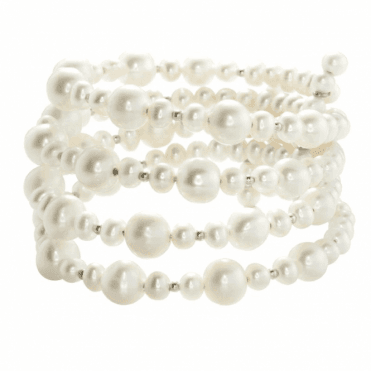 Ladies Shipton and Co  Silver and 5.5-8mm Freshwater Pearls and Silver Beads 4 Row FLexible Bangle TEN025FP