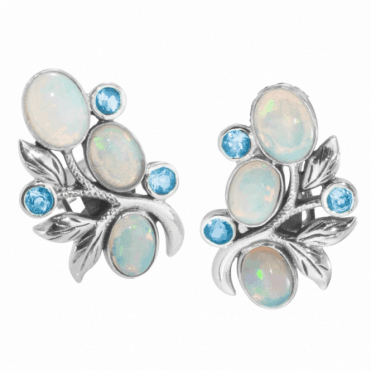 Ladies Shipton and Co Silver and Oval Opals and Blue Topaz in a Foliate Stud Earring EQA388OPBT