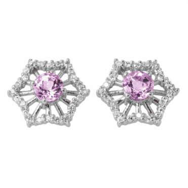 Earrings of White Gold, Diamond and Morganite