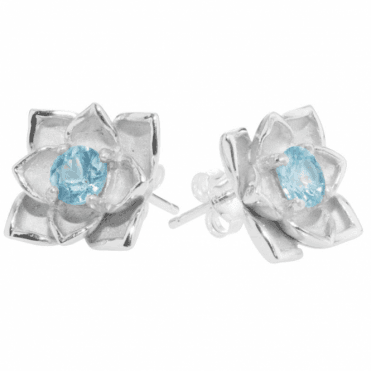 Ladies Shipton and Co Silver and 5mm Round Blue Zircon Flower Stud Earrings EQA397BZ