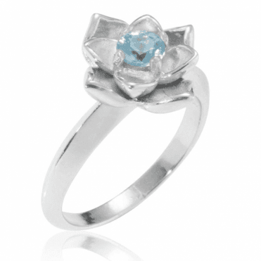Ladies Shipton and Co Silver and 5mm Round Blue Zircon Flower Ring RQA397BZ