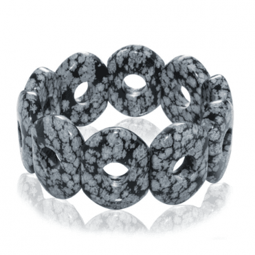 Ladies Shipton and Co Snowflake Obsidian Doughnut Shaped Beads Expanding Bracelet BFE007OB
