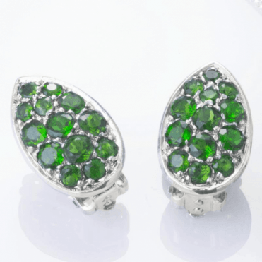 Ladies Shipton and Co Silver Green Fire Diopside Pave Teardrop Shaped Stud Earrings EQA391DO