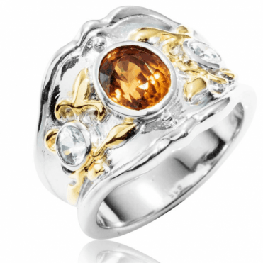 Ladies Shipton and Co Silver and Gold Brown and White Natural Zircon Ring RQF001ZR