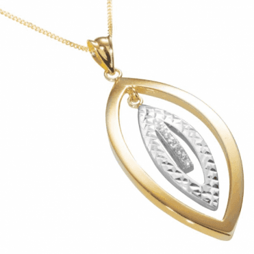 Ladies Shipton and Co 9ct Yellow and White Gold Linked Marquise Shapes Cubic Zirconia Pendant including a 16 9ct Chain TEM035CZ