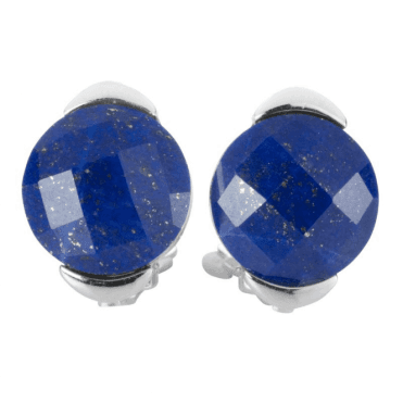 Ladies Shipton and Co Silver and 12mm Faceted Lapis Lazuli Clip Fitting Earrings for Unpierced Ears TTL245LL