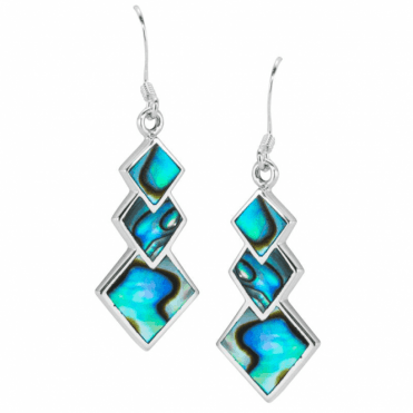 Geometric Earrings in Paua Shell & Silver