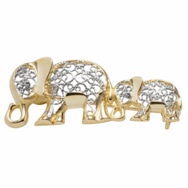 9ct Gold Elephant Brooch