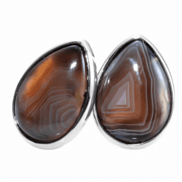 Ladies Shipton and Co Silver and 18x13mm Pearshape Botswana Agate Clip Fitting Earrings for Unpierced Ears EQA393BW=C