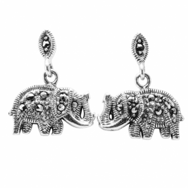 Ladies Shipton and Co Silver and Marcasite Earrings TDA102MM