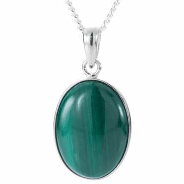 Ladies Shipton and Co Exclusive Silver and 20x15mm Oval Malachite Pendant including a 16 Silver Chain TYS045ML