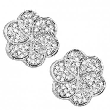 Ladies Shipton and Co Silver and Pave Cubic Zirconia Heart Clip Fitting Earrings for Unpierced Ears TSS151CZ