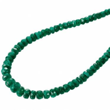 "3-4mm Grad. Faceted Emerald Beads 18"" Silver Trigger"