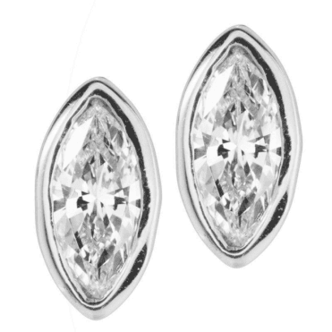Ladies Shipton and Co Silver and 8x4mm Cubic Zirconia Flush Set Stud Earrings EQA017CZ1