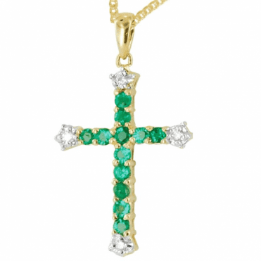 Ladies Shipton and Co Exclusive 9ct Yellow Gold Diamond and Emerald Augutine Pendant including a 16 9ct Chain PYD062EMD