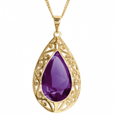 "Ladies Shipton and Co Exclusive 9ct Yellow Gold and Amethyst  Pendant including a 16"" 9ct Chain  PY1558AM"