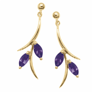 Ladies Shipton and Co Exclusive 9ct Yellow Gold and Amethyst Earrings EYG003AM