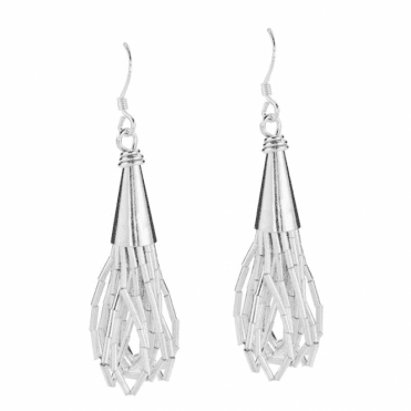 Ladies Shipton and Co Silver Loops of Cascading Silver Tubes Drop Earrings TFE059NS