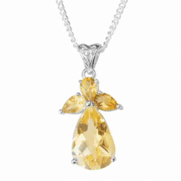"Ladies Shipton and Co  Silver and Faceted Pearshape Citrine Angel Pendant including a 16"" Silver Chain  TYS124CI"