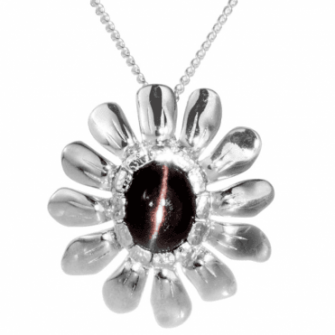 Ladies Shipton and Co Exclusive Silver and Scapolite Cats Eye Flower Design Pendant including a 16 Silver Chain PQA411SO