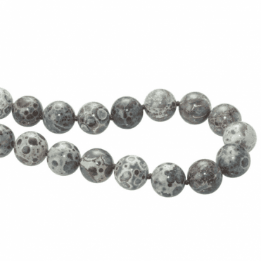 Ladies Shipton and Co  Silver and 14mm Dalmation Jasper Beads 28 Inches Long BFE019JA