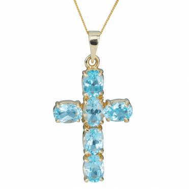 9ct Gold & Blue Topaz Cross