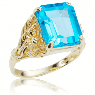 Ladies Shipton and Co Exclusive 9ct Yellow Gold and Blue Topaz Ring RY1445BT