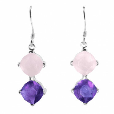 Ladies Shipton and Co  Silver Faceted Rose Quartz and Amethyst  Drop Earrings TYS107AMRQ