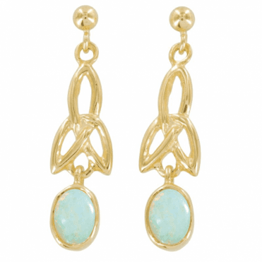 Ladies Shipton and Co Exclusive 9ct Yellow Gold and Opal Earrings EY1746OP