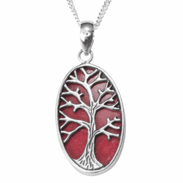 Tree of Life Pendant in silver and coral