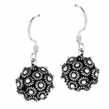 Ladies Shipton and Co Silver Wirework Flowers Ball Drop Earrings TFE058NS