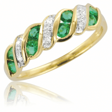 Ladies Shipton and Co Exclusive 9ct Yellow Gold Diamond and Emerald Wave Half Eternity Ring RYD090EMD