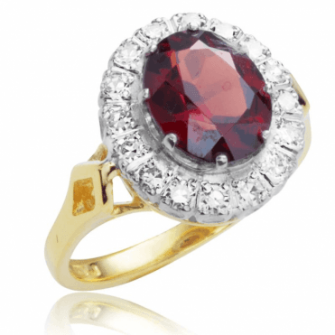 Ladies Shipton and Co Exclusive 18ct Yellow Gold and Garnet Ring RZ1097GR