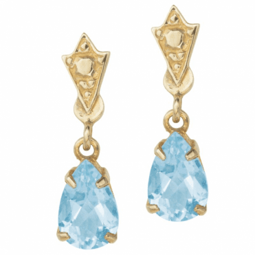 Ladies Shipton and Co Exclusive 9ct Yellow Gold and Aquamarine Earrings EY0981AQ
