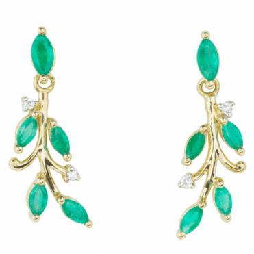 Ladies Shipton and Co Exclusive 9ct Yellow Gold Spring Emerald And Diamond Earrings EYD013EMD