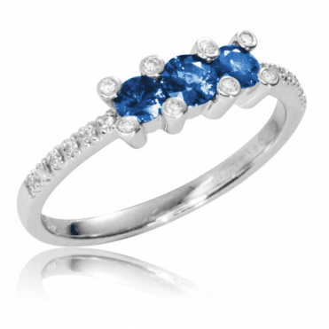 Ladies Shipton and Co Exclusive 18ct White Gold Diamond and Blue Sapphire Trilogy Ring TMS020BSD