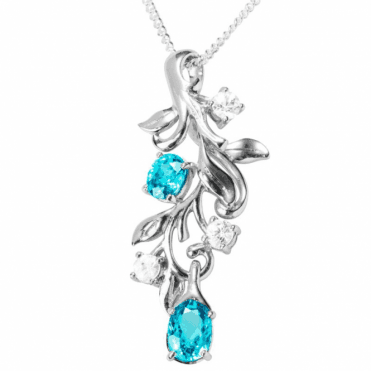 Ladies Shipton and Co Exclusive Silver Natural Blue Zircon and Natural White Zircons Foliate Pendant including a 16 Silver Chain PQA410BZZR