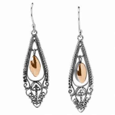 Ladies Shipton and Co Silver Filigree Frame Drop Earrings with a Central Gold Teardrop TSS178NS
