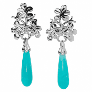 Ladies Shipton and Co Silver and Briolette Amazonite Drop Earrings EQA386AZ