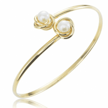9ct Gold Flexible Bangle of Cultured Pearls