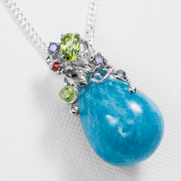 Ladies Shipton and Co Silver and Aquamarine Pendant including a 16 Silver Chain TTL260AQMU