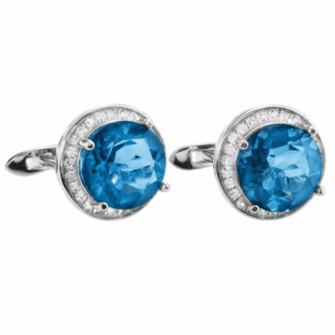 Ladies Shipton and Co Silver and 10mm Round Colour Change Flourite and White Topaz Earrings TFE070FLWT
