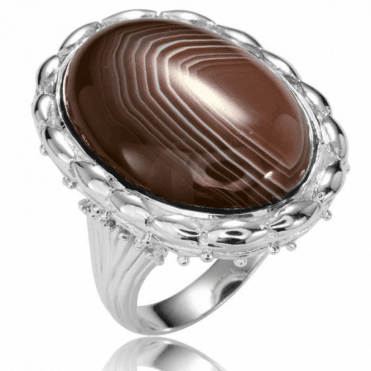 Ladies Shipton and Co Silver and Botswana agate Ring RQA435BW