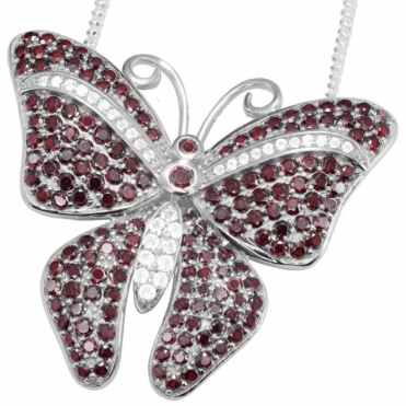 Ladies Shipton and Co Silver and Garnet Pendant including a 16 Silver Chain TFE087GRWT