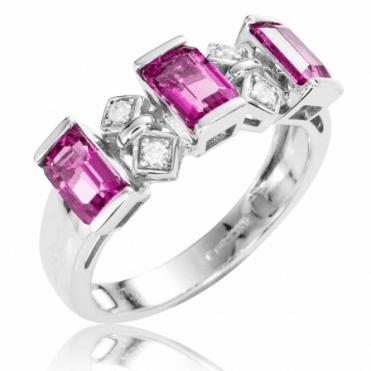Rare Pink Tourmaline & Diamond Ring in 9ct White Gold