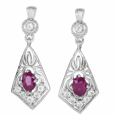 Ladies Shipton and Co Silver and Ruby EQA443RUWT