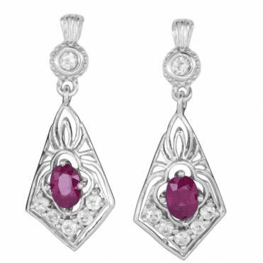 2ct Ruby Earrings Lit by White Topaz